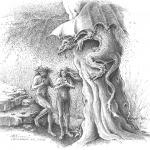 Adam & Eve & Dragon - Mark Tucci Original Pen & Ink Sketch