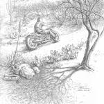 Motorcyclist in the Desert - Mark Tucci Original Pen & Ink Sketch