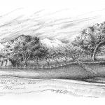Sunset in Tubac AZ - Mark Tucci Original Pen & Ink Sketch