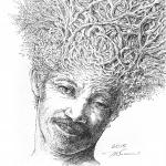 Branching Hair - Mark Tucci Original Pen & Ink Sketch