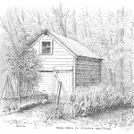 Small Barn in Manlius NY - Mark Tucci Original Pen & Ink Sketch