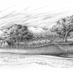 Sunset in Tubac AZ - Mark Tucci Original Pen & Ink Sketch