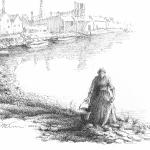 Old Woman by Sea - Mark Tucci Original Pen & Ink Sketch