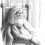 Old Man in Chair - Mark Tucci Original Pen & Ink Sketch